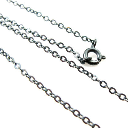 Oxidized Sterling Silver Necklace Chain - Bracelet Chain - Anklet Chain - 2.3mm Strong Flat Cable -All Sizes