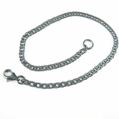 Oxidized Sterling Silver Necklace -Oxidized Silver Bracelet - Oxidized Silver Anklet - Double Diamond Cut Curb Link Chain -All Sizes
