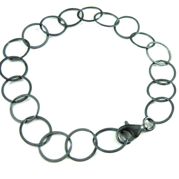 Oxidized Sterling Silver Chain Necklace,Oxidized Silver Bracelet, Oxidized Silver Anklet -10mm Flat Circle Link