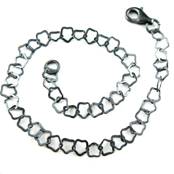 Oxidized Sterling Silver Necklace - Bracelet - Anklet - Flat Star Link- All Sizes