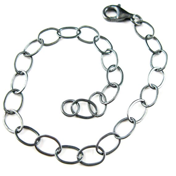 Oxidized Sterling Silver Necklace- Bracelet Chain - Anklet Chain - Flat Cable Oval Chain- Long Necklace - All Sizes