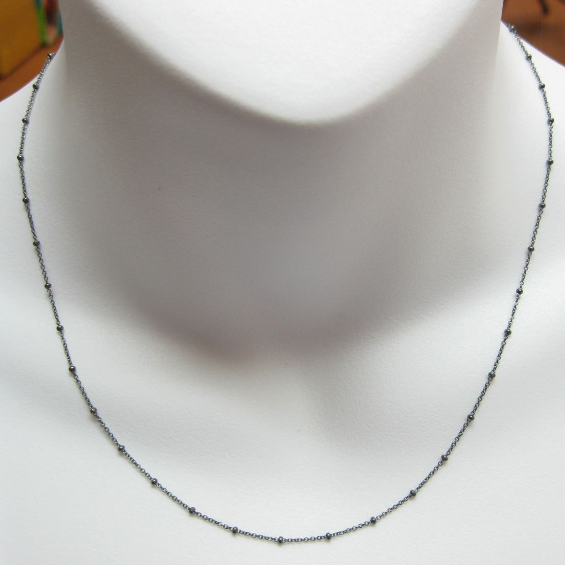 Oxidized Silver Necklace, Oxidized Sterling Silver Chain Necklace - Bracelet Chain, Anklet Chain - Cable  Beaded Chain - Satellite Necklace Chain- Long Necklace - All Sizes