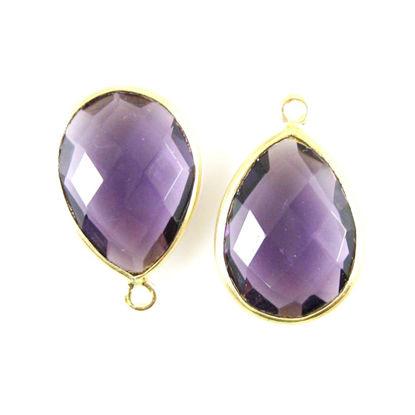 Bezel Gemstone Pendant - 13x18mm Faceted Pear Shape - Amethyst Quartz (Sold per 2 pieces)