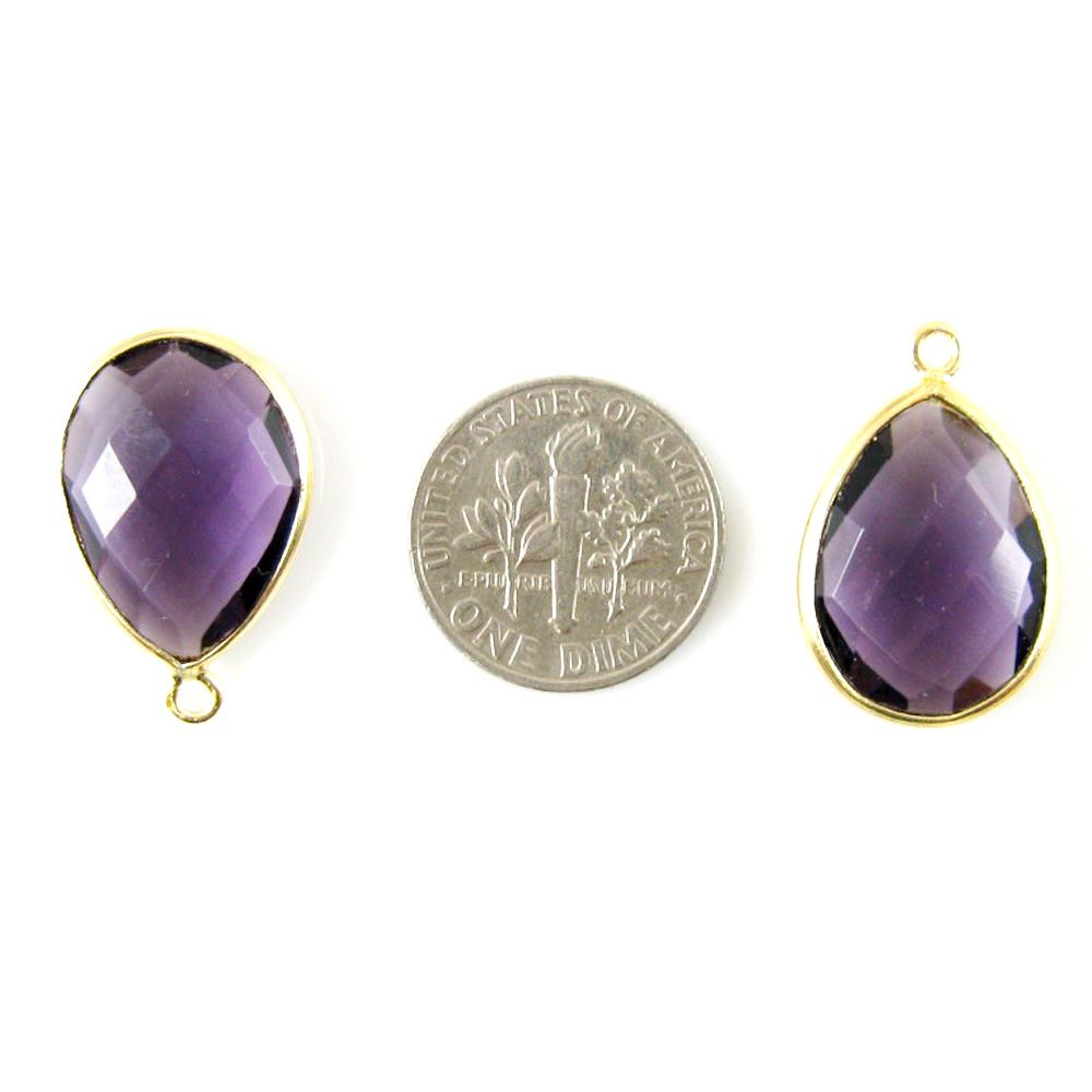 Bezel Gemstone Pendant - 13x18mm Faceted Pear Shape - Amethyst Quartz (Sold per 2 pieces)