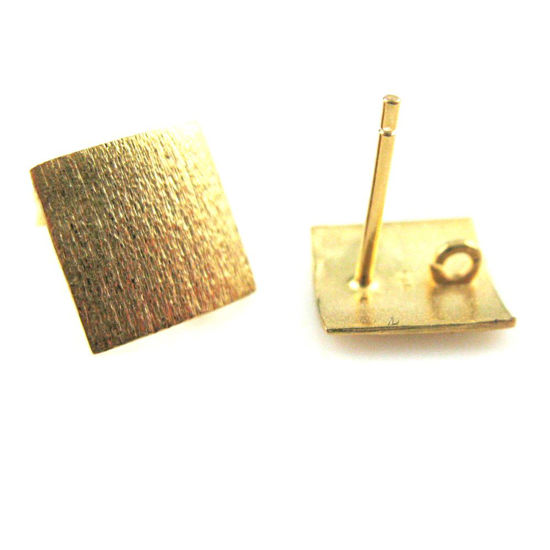 18k Gold Plated over 925 Sterling Silver Texture Sqare Earwire -Fancy Earwire -10mm by 10mm (2pcs-1 pair)