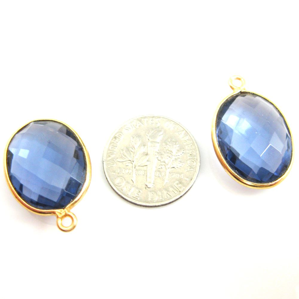 Bezel Gemstone Pendant - 14x18mm Faceted Oval - Iolite Quartz (Sold per 2 pieces)