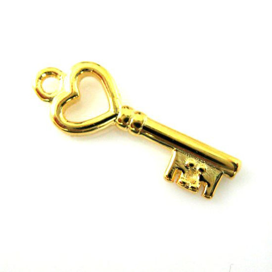 Gold plated 925 Sterling Silver Charm - Gold Key Charm, Tiny Key with Heart - 19mm ( 2 pcs)
