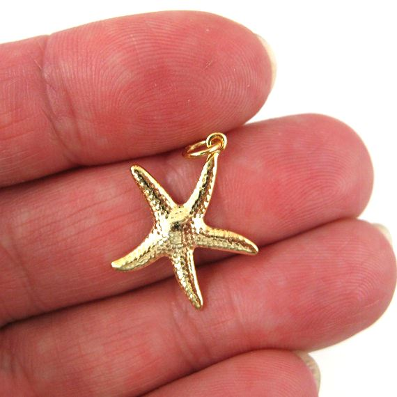 Gold plated 925 Sterling Silver Charm - Lovely Textured Starfish Charm- 25mm ( 1 pc)