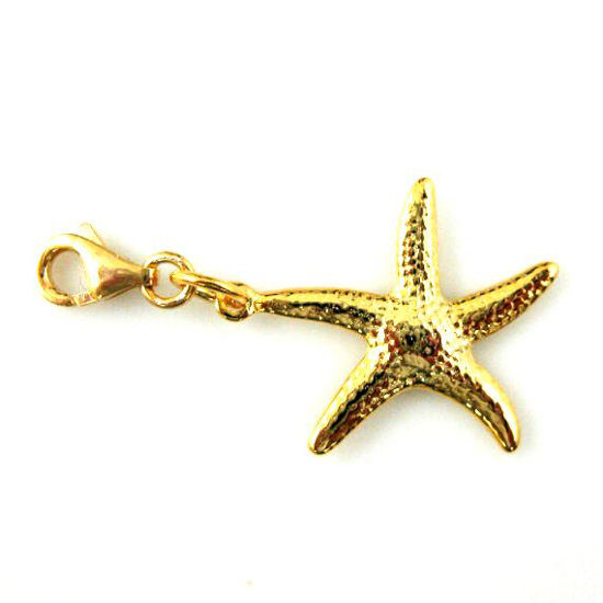 Gold plated Sterling Silver Starfish Charm- Charm with Clasp - Charm Bracelet Charm- Add on Charm