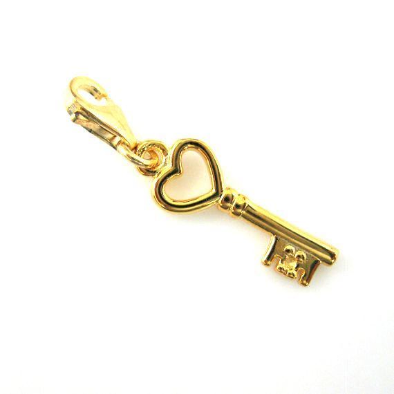 Gold plated Sterling Silver Key with Heart Charm- Charm with Clasp - Charm Bracelet Charm- Add on Charm
