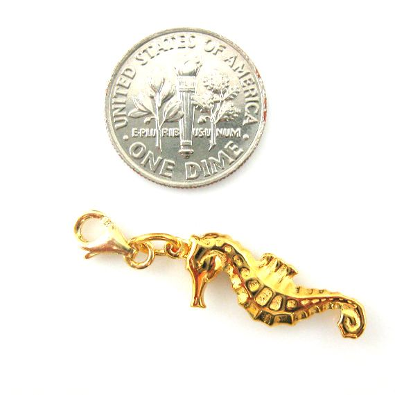 Gold plated Sterling Silver Seahorse Charm- Charm with Clasp - Charm Bracelet Charm- Add on Charm