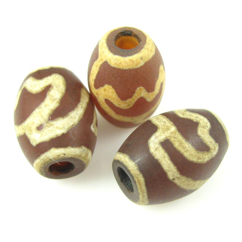 Carnelian dZi bead - Oval Shape with Lotus Body -- 14mm by 10 mm ( 3 pcs)
