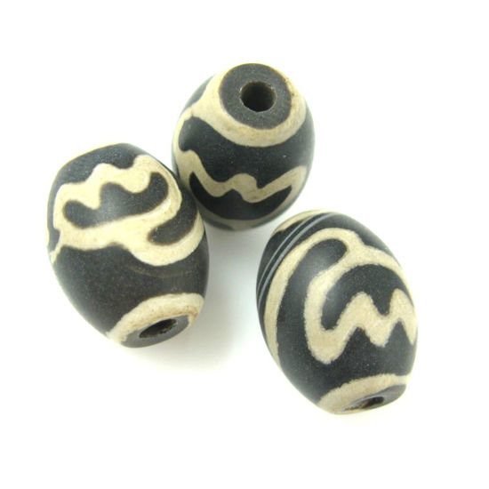 Carnelian dZi bead - Oval Shape Lotus Body - Black-- 16mm by 12 mm ( 3 pcs)