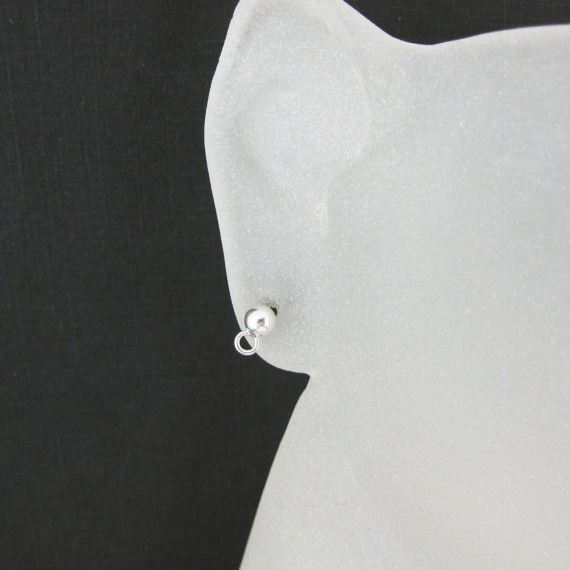 Sterling Silver Earring Findings- Simple Earring Studs with Ring, Earring Post Ball Studs with Hooks - 2 pairs