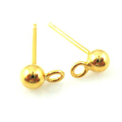 Gold plated Sterling Silver Earring Findings- Simple Earring Studs with Ring, Earring Post Ball Studs with Hooks - 3 pairs