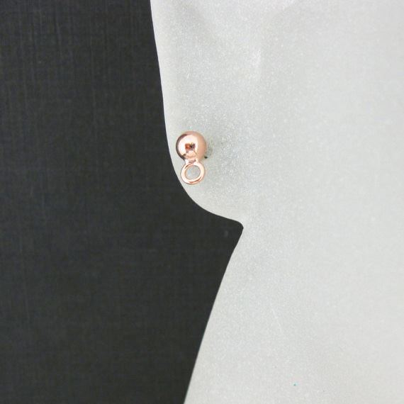 Rose Gold plated Sterling Silver Earring Findings- Simple Earring Studs with Ring, Earring Post Ball Studs with Hooks - 3 pairs