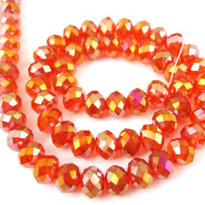 Crystal Glass beads, 8X6mm Faceted Rondelle, Red, AB Finish
