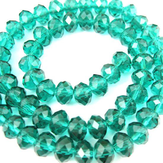 Crystal Glass beads, 6x4 Faceted Rondelle, Peacock Green+Sparkle