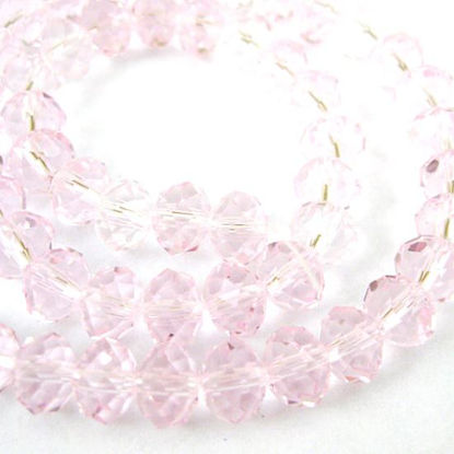 Crystal Glass Beads, Faceted Rondell, 4mm by 3mm, Pink