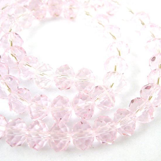 Crystal Glass Beads, Faceted Rondell, 6mm by 4mm, Pink