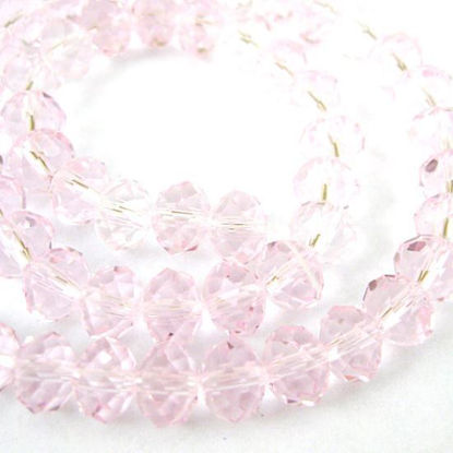 Crystal Glass Beads, Faceted Rondell, 8mm by 6mm, Pink