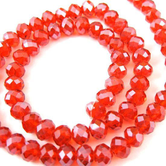 Crystal Glass beads, 6X4mm Faceted Rondelle,Red,Sparkle Finish