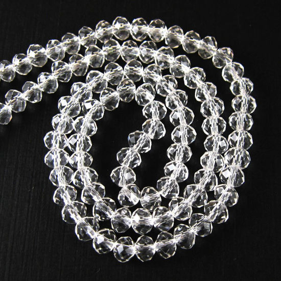 Crystal Glass beads, 6X4mm Faceted Rondelle,Clear color