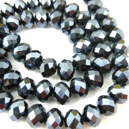 Crystal Glass beads, 4X3mm Faceted Rondelle,Black,Sparkle Finish