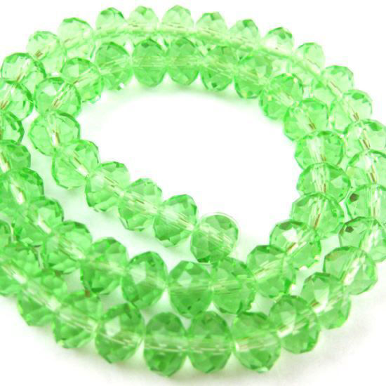 Crystal Glass beads, 6X4mm Faceted Rondelle,Apple Green