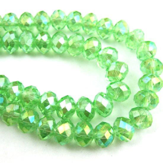 Crystal Glass beads, 4X3mm Faceted Rondelle,Apple Green,AB