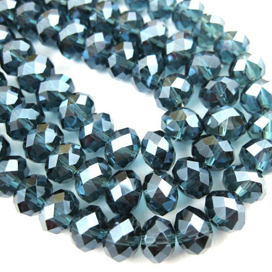 Crystal Glass beads, 4X3mm Faceted Rondelle,Dark Blue + Sparkle