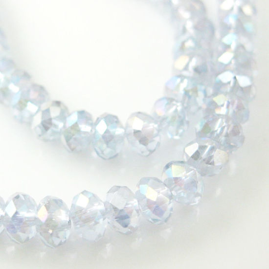Crystal Glass beads,4X3mm Faceted Rondelle,Light Purple ,AB