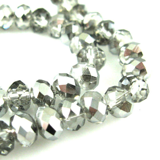 Crystal Glass beads 6X4 Faceted Rondelle, Grey Color