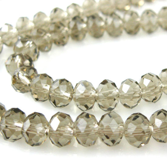 Crystal Glass beads 6X4 Faceted Rondelle, Dark Grey Color