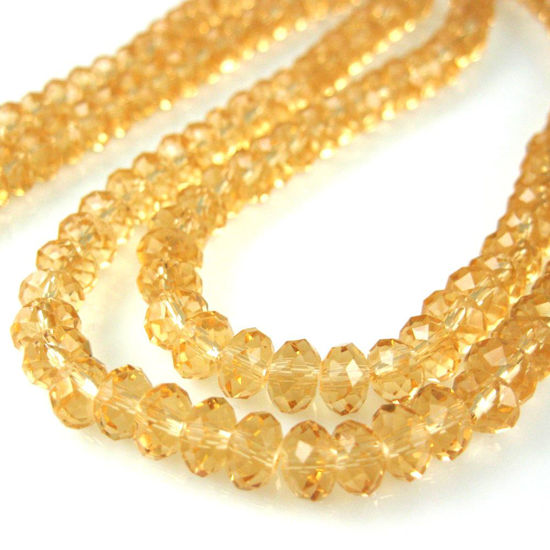 Crystal Glass beads 6X4 Faceted Rondelle, Citrine Color