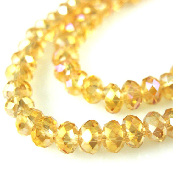 Crystal Glass beads 4X3 Faceted Rondelle, AB Finish, Light Citrine Color