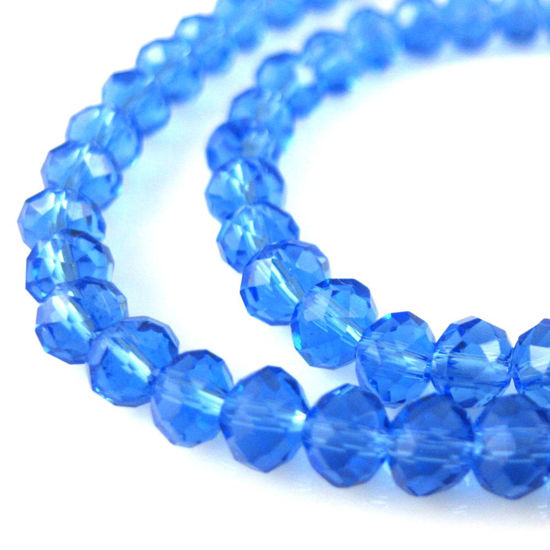 Crystal Glass beads 4X3 Faceted Rondelle, Blue