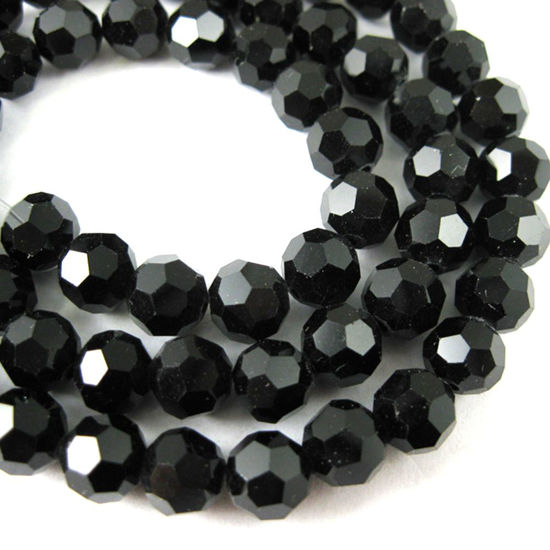 Crystal Glass Beads 4mm Round Faceted Beads, Shiny Black