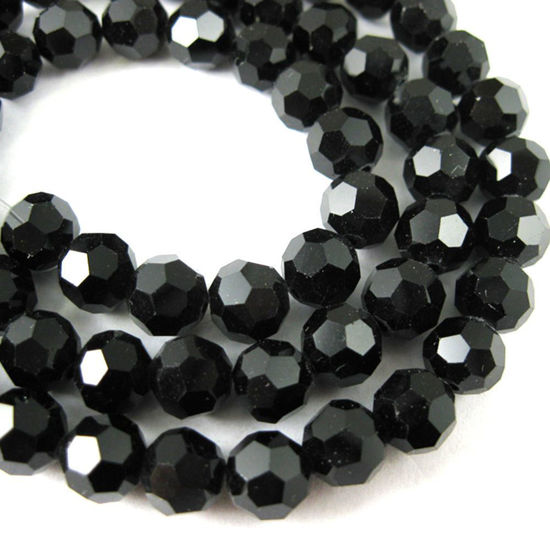 Crystal Glass Beads 8mm Round Faceted Beads, Shiny Black