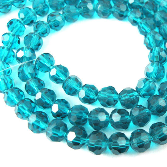 Crystal Glass Beads 6mm Round Faceted Beads, Peacock Blue