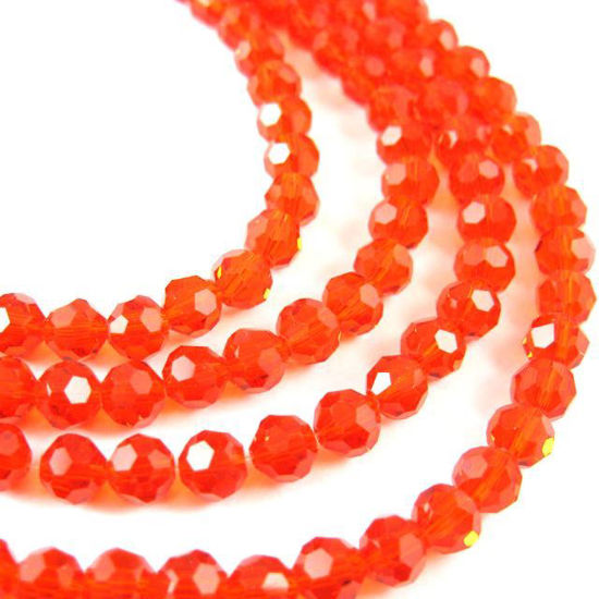 Crystal Glass Beads 6mm Round Faceted Beads, Red Color