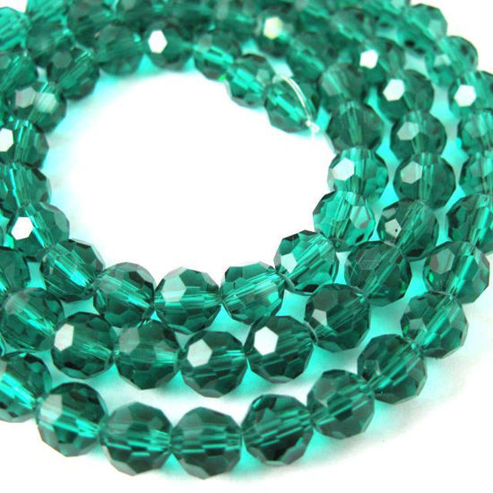 Crystal Glass Beads 6mm Round Faceted Beads, Peacock Green Color