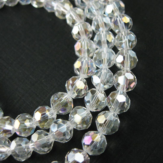 Crystal Glass Beads 8mm Round Faceted Beads, Clear Crystal AB