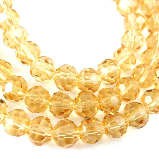 Crystal Glass Beads 8mm Round Faceted Beads, Citrine Color