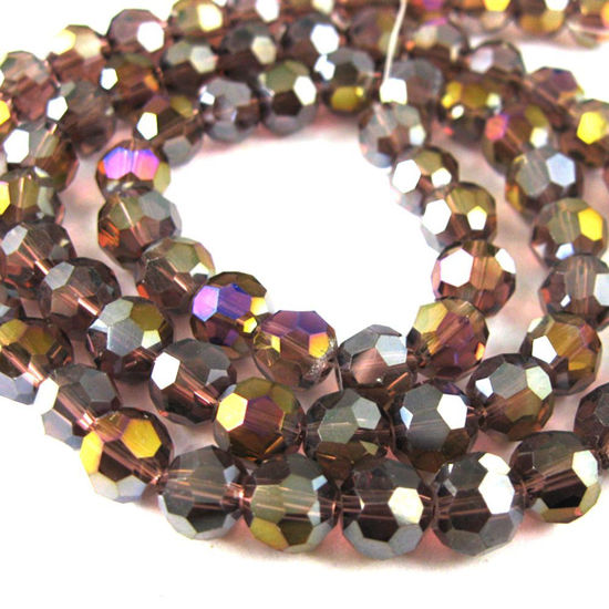 Crystal Glass Beads 6mm Round Faceted Beads, Dark Red Violet, Crystal AB