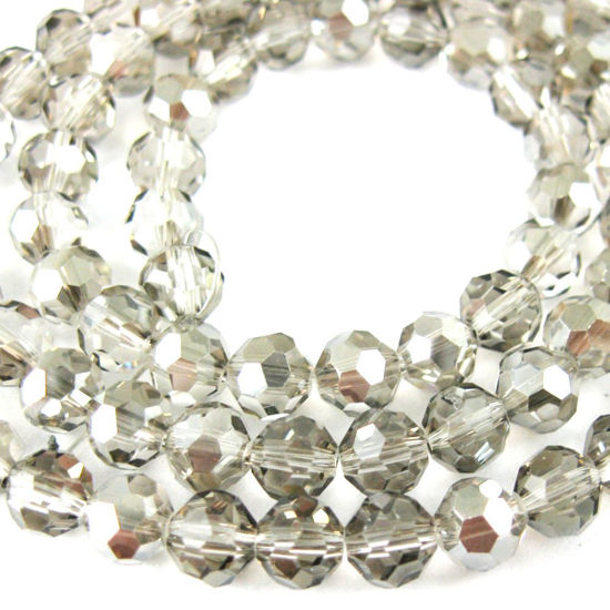 Crystal Glass Beads 4mm Round Faceted Beads, Grey Color