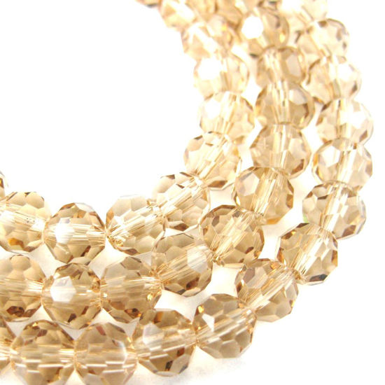 Crystal Glass Beads 6mm Round Faceted Beads, Champagne Color