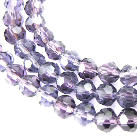Crystal Glass Beads 6mm Round Faceted Beads, Dark Violet Color