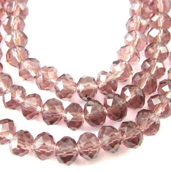 Crystal Glass Beads 6mm Round Faceted Beads, Violet Color