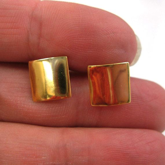 18k Gold Plated over 925 Sterling Silver Smooth Square Earwire -Fancy Earwire -10mm by 10mm (2pcs-1 pair)